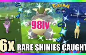 98iv SHINY KANGASKHAN CAUGHT & 5x RARE SHINIES CAUGHT IN POKEMON GO!