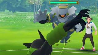 Shiny Dusknoir v/s Zarude dark ghost battle pokemon go.